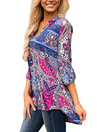YOUJIA Mujeres Verano Camisetas Cuello en V manga 3/4 Floral Irregular Shirts Camisas Blusa Tops Rose