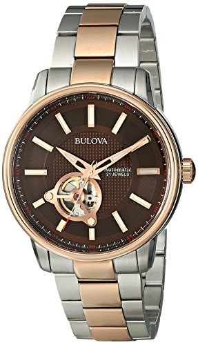 Bulova Men's Analog Watch Black/Rose Gold 98A140