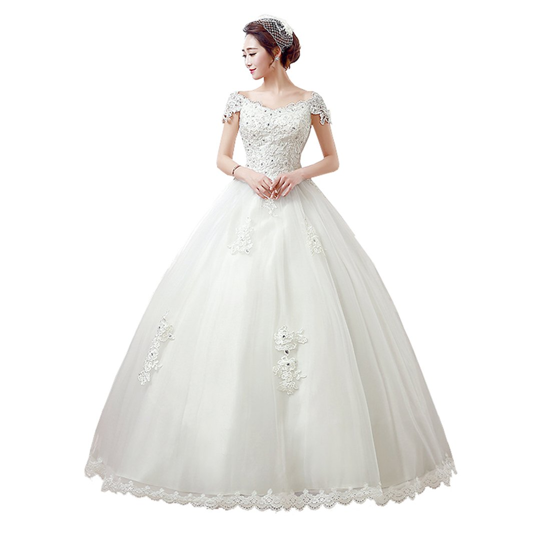 Wedding Dress Shining Beading Ball Gown Bridal White Wedding Gowns 2017