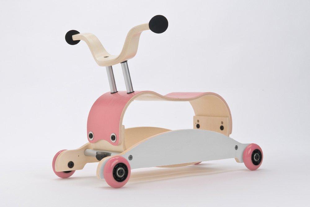 WISHBONE mini FLIP mix & match 3in1 - Laufwagen + Rutschauto + Schaukel in Farbe: Top pink + Base weiß + Räder pink