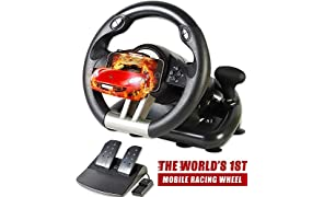 Serafim R1+ Racing Wheel for Xbox One, PS4, PC, Switch, PS3, iOS, Android - Vibration Xbox One Steering Wheel, PS4 Steering Wheel, PC Gaming Wheel - Gaming Steering Wheel with Responsive Pedal