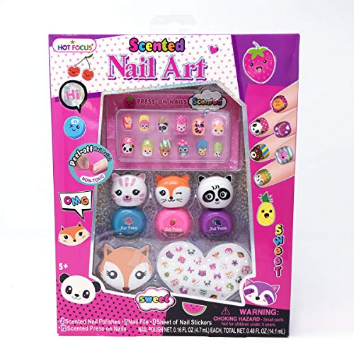 Hot Focus Scented Critter Nail, 3 Non-Toxic Water Based Peel Off Nail Polishes, 12 Press on Nails, 1 Sheet of Nail Stickers & Nail File. Perfect for Kids/Girls Manicure, Birthday Party and Sleepover. from Hot Focus
