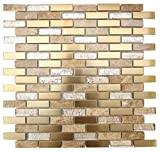 Glossy Deco & Light Emperador Marble & Gold Stainless Steel Authentic Glass Mosaic Tiles for Bathroom and Kitchen Walls Kitchen Backsplashes