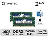 Timetec Hynix IC Apple 16GB Kit (2x8GB) DDR3L 1600MHz PC3L-12800 SODIMM Memory upgrade For MacBook Pro13-inch/15-inch Mid 2012, iMac 21.5-inch Late 2012/ Early/Late 2013(16GB Kit (2x8GB))