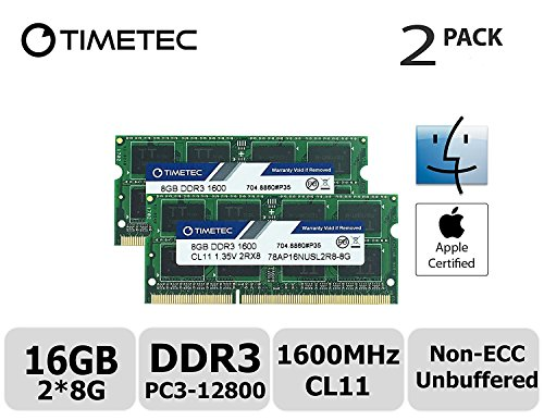Timetec Hynix IC Apple 16GB Kit (2x8GB) DDR3L 1600MHz PC3L-12800 SODIMM Memory upgrade For MacBook Pro13-inch/15-inch Mid 2012, iMac 21.5-inch Late 2012/ Early/Late 2013(16GB Kit (Apple Imac Pro)