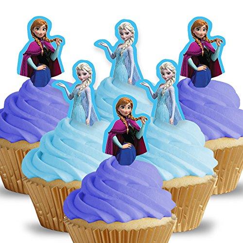 Cakeshop 12 x VORGESCHNITTENE UND ESSBARE Disney Princess Anna + Elsa Kuchen topper (Tortenaufleger)