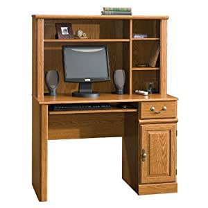 "Sauder 401353 Orchard Hills Computer Desk with Hutch, L: 42.60"" x W: 19.45"" x H: 56.30"", Carolina Oak Finish"