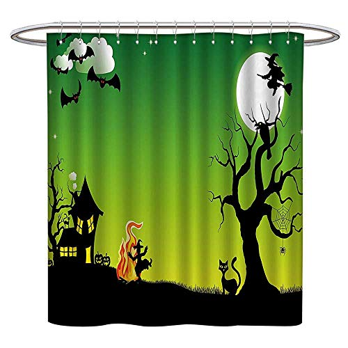 Jiahonghome Mildew Resistant Fabric Shower Curtains Witch Dancing Around The Fire Halloween Ancient Western Horror Repellant Non Toxic Decor W 63 x L 72 INCH ()