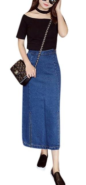 Women Vintage Side Split High Waisted A Line Straight Blue Long Denim Jean Skirt