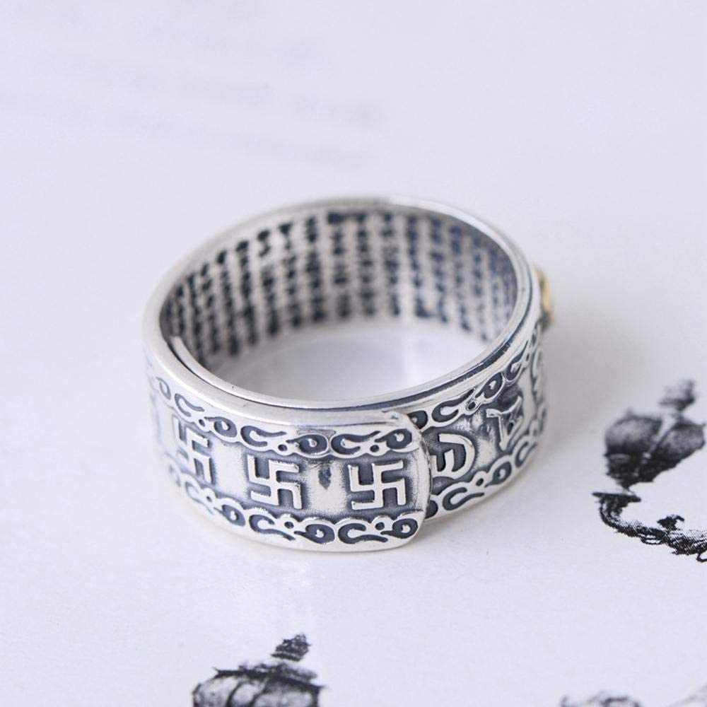 Weiwei Men Ring Rings S990 Sterling Silver Recruit Wealth Pixiu Buddhist Heart Sutra six Character Man Ring