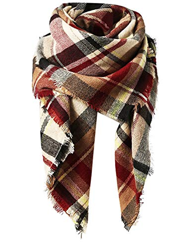 Plaid Scarf - Zando Fall Stylish Warm Cape Women Chunky Blanket Scarf Soft Oversized Scarf Shawl Wrap Plaid Blanket Scarves with Tassels Light Red Scarf