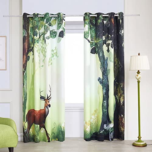 Fassbel 2 Panel Set Digital Printed Blackout Window Curtains Thermal Insulated
