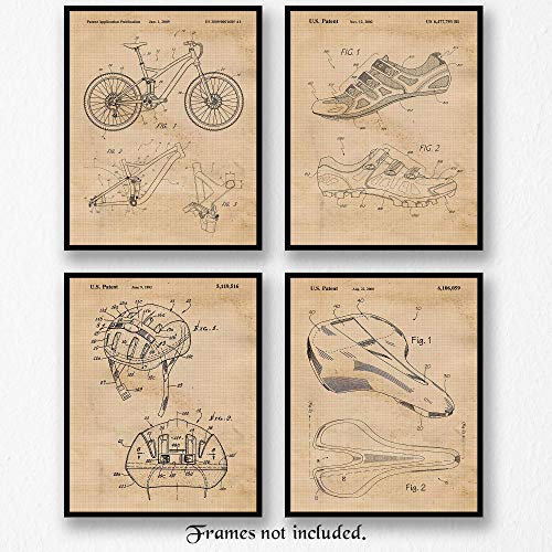 Original Art Poster - Original Specialized Mountain Bike Patent Art Poster Prints- Set of 4 (Four8x10) Unframed Pictures- Great Wall Art Decor Gifts Under $20 for Home, Office, Garage, Man Cave, Teacher, Cyclist, Mtn Biker