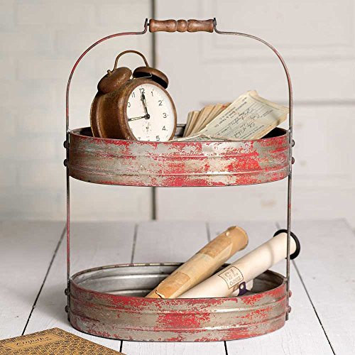 Deep Tray Oval - Colonial Tin Works Weathered Red/Grey Two Tier Serving Caddy/Tray-Industrial Farmhouse Chic,12-1/2 Wide x 9-1/2 Deep x 17 Tall