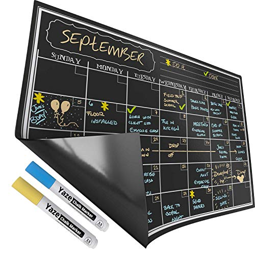 Magnetic Dry Erase Calendar with Chalkboard Design for Kitchen Fridge | 2 Fine Tip Chalk Markers | 17X12'' Monthly Blackboard Organizer | Perfect Refrigerator Black Board by Yaze Magnet