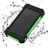 FLOUREON 10000mAh Power Bank Waterproof Portable External Battery Backup Solar Charger with Dual USB for Android iPad iPhone Cellphones, LED Flashlight with Compass for Emergency