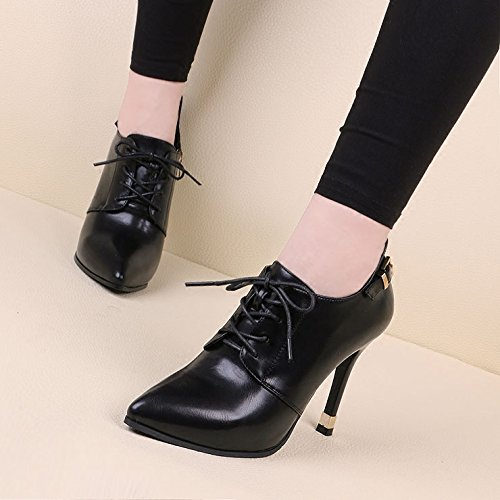 waterproof Martin with boots bare high Black thin GTVERNH and platform short boots with Winter and pointed boots buckle winter single boot heeled Y4AA6xBqw