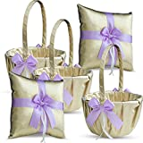 Roman Store Gold & Violet/Lilac/Lavender Wedding Ring Bearer Pillow and Flower Girl Basket Set – Satin & Ribbons – Pairs Well with Most Dresses & Themes – Splendour Every Wedding Deserves