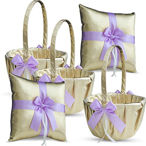Roman Store Gold & Violet/Lilac/Lavender Wedding Ring Bearer Pillow and Flower Girl Basket Set – Satin & Ribbons – Pairs Well with Most Dresses & Themes – Splendour Every Wedding Deserves by Roman Store (Image #5)
