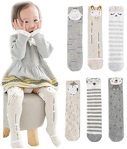 Unisex Baby Socks Toddler Girl Knee High Socks Leg Warmers Animal Cotton Socks 1-7 Yrs (Pack of 6 Pairs)