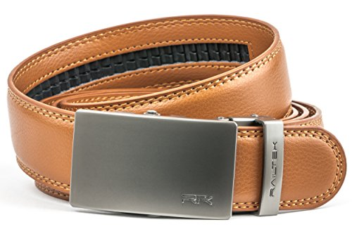 for Men | Mens Comfort Genuine Leather Belt with Automatic Buckle & Gift Box - Gunmetal Buckle & Light Brown Leather) (Genuine 1 Gift)