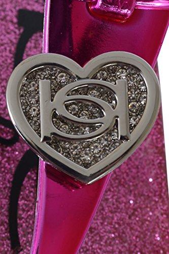 983517cb4 bebe Girls Rhinestone Glitter Heart Jelly Sandals - Metallic Flip Flop Shoes  (Little Kid