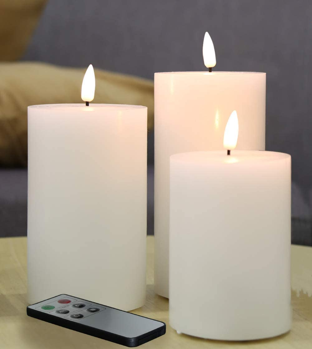 Amazon Com Eywamage 3 Pack White Flameless Pillar Candles With Remote D 3 H 4 5 6 Flat Top Flickering Electric Led Battery Candles Real Wax Unscented Home Improvement