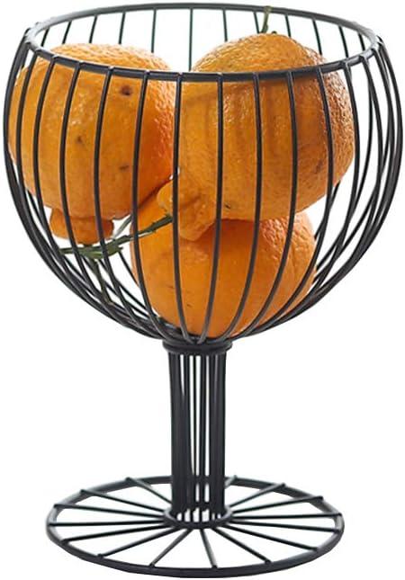 MAYITBE Wine Glass Decor Fruit Basket Round Tiered Wire Basket Snacks Candy Storage Fruit Container Basket Vegetable Rack Wine Glass Cork Holder Restaurant Decor(Black A)