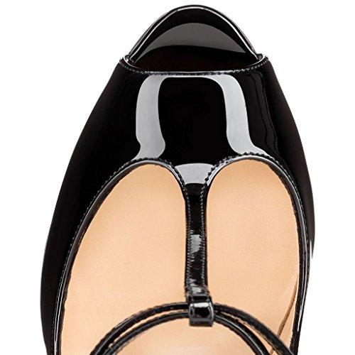 Arc-en-Ciel zapatos de las mujeres abiertas del talón de la bomba de alta T-correa Negro