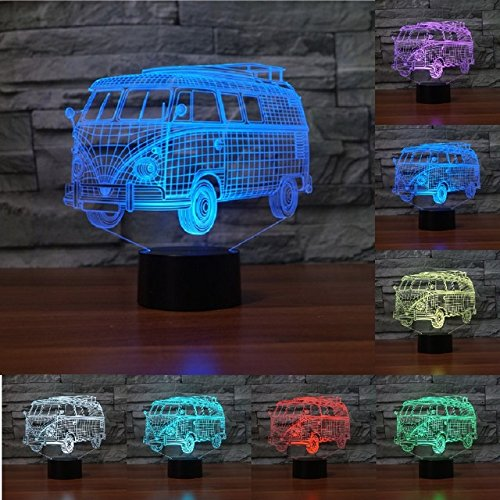 3D Public Bus Night Light Usb Touch Switch Decor Table Desk Optical Illusion Lamps 7 Color Changing Lights Led Table Lamp Xmas Home Love Brithday Children Kids Decor Toy Gift