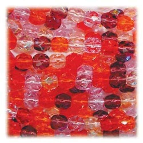 50 Czech Fire Polished 8mm Glass Beads ~ Melonberry Mix