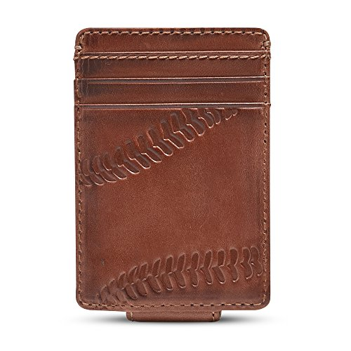 HOJ Co. BASEBALL Front Pocket Wallet-Strong Magnetic Closure-Slim Money Clip ()
