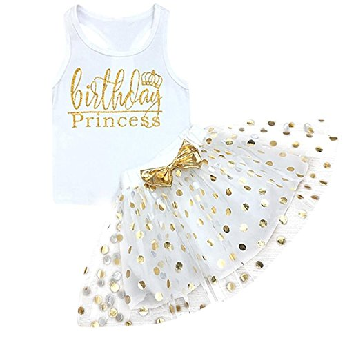 Toddler Kids Baby Girls Outfits Birthday Princess Vest Sleeveless Top +Dot Bubble Skirt Summer Clothes Set (White, 18 Months)