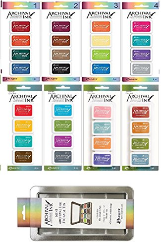 Ranger Archival Ink Mini Pads - Sets 1-4 and Wendy Vecchi Sets 1-4 - 32 Inks Total - Includes Bonus Mini Ink Storage Tin by Ranger