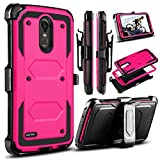lg 3 accessories - LG Stylo 3 Case, LG Stylus 3 Case, LG Stylo 3 Plus 2017 Case, Venoro Heavy Duty Shockproof Protection Case Cover with Swivel Belt Clip and Kickstand for LG LS777 / MP450 / M430 (Rose)