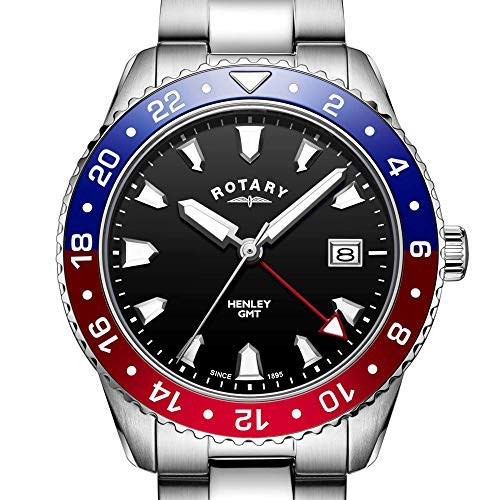 Rotary Men's Watch GMT Henley Stainless Steel Bracelet with 42mm 'Pepsi Dial' GB05108/30