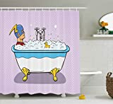 Comics Decor Shower Curtain by Ambesonne, Superhero Fast Furious Relaxing in Bubble Bath Shower with Rubber Duck Artwork, Fabric Bathroom Decor Set with Hooks, 70 Inches, Multicolor