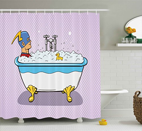 Ambesonne Comics Decor Shower Curtain, Superhero Fast Furious Relaxing in Bubble Bath Shower with Rubber Duck Artwork, Fabric Bathroom Decor Set with Hooks, 70 Inches, Multicolor ()
