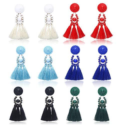hefanny 6 Pairs Colorful Layered Statement Tassel Earrings Set Black White Red Yellow Long Boho Drop Dangle Earrings for Women Girls Hypoallergenic Earrings for Sensitive Ears (3) ...