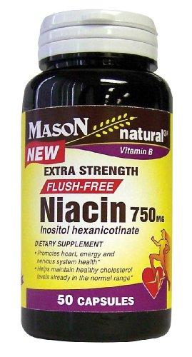 Mason Vitamines Niacine 750 mg Extra Strength FLUSH capsules de vitamine A GRATUITES, (B-3) hexanicotinate d'inositol, 50-count Bouteilles (pack de 2)