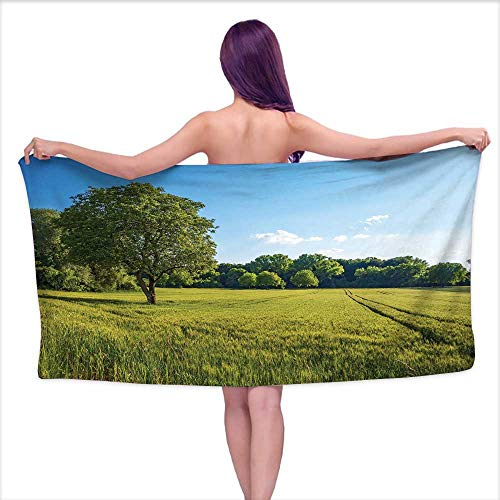 White Bath Towels Forest,Tree Field and Fresh Green Meadow with Open Blue Sky Uplifting Day in Nature Picture,Green Blue,W10 xL39 for Youth Girls Cotton