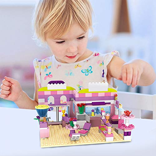 Dream Girls Friends Ice Cream Shop Building Set with 3 Mini People - Pink Seaside Beach Dessert Shop Building Bricks Set for Girls Aged 6-12 and Up, 317 Pcs