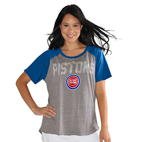 Touch by Alyssa Milano NBA Detroit Pistons Conference Tee Plus, 1X, Heather Grey