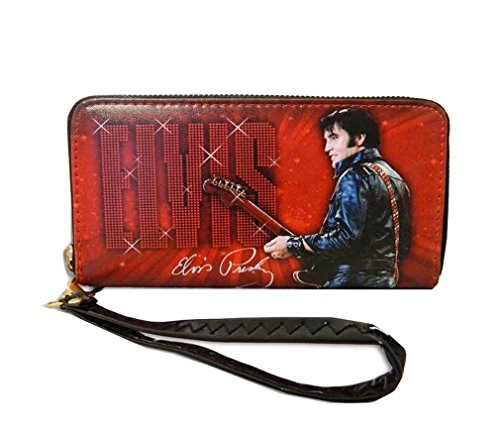 Elvis Presley Around Zip Closure Wallet (Red)