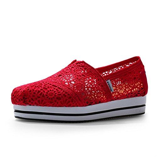Zapato Plano De Encaje Para Mujer Con Cordones Y Cordones Planos Y Transpirables De Bustda Sneakers