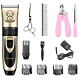 Showlovein Pet Grooming Clipper Kits Low Noise Rechargeable Cordless Quiet Cat Dog Groomer Tool Hair Trimmer Razor Blades with Combs, Scissor
