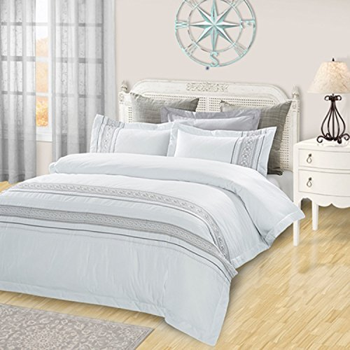 Superior Burlington 100% Cotton Duvet Cover Set with 2 Pillow Shams, Embroidered White Duvet Cover with Pintucked Details - Full/Queen Size (Embroidered Set Duvet)