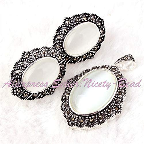Pukido Pretty Oval Beads Gem Stone Marcasite Tibetan Silver Classical for Fashion Pendant Earrring 22x26mm/25x35mm 1 Set - (Color: Cat Eye)