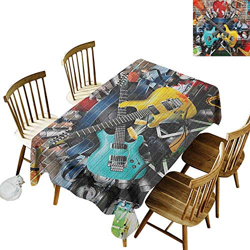 kangkaishi Iron-Free Anti-fouling Holiday Long Tablecloth Table decorationCollage of Music Color and Musical Instruments Street Wall Art Joyful Nostalgia Print W14 x L72 Inch Multicolor
