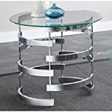 Greyson Living Tisbury Round End Table | 8mm Thick Tempered Glass Top Gives a Light, Airy Feel